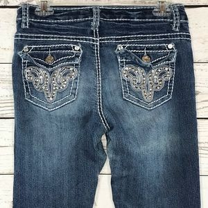 Suko Jeans Embroidered Embellished Faded Bootcut